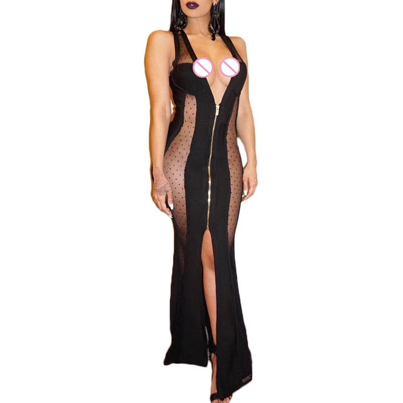 Brand New Black Mesh Patchwork Pencil Long Dress Solid Plunge V Neck Sleeveless Front Zipper Bodycon Party Club Dresses e8118