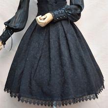 2018 女性の古典的なロリータスカートヴィンテージスタイルレトロゴシック闇レースアップハイウエスト A ラインチャペル教会の正式なスカート黒