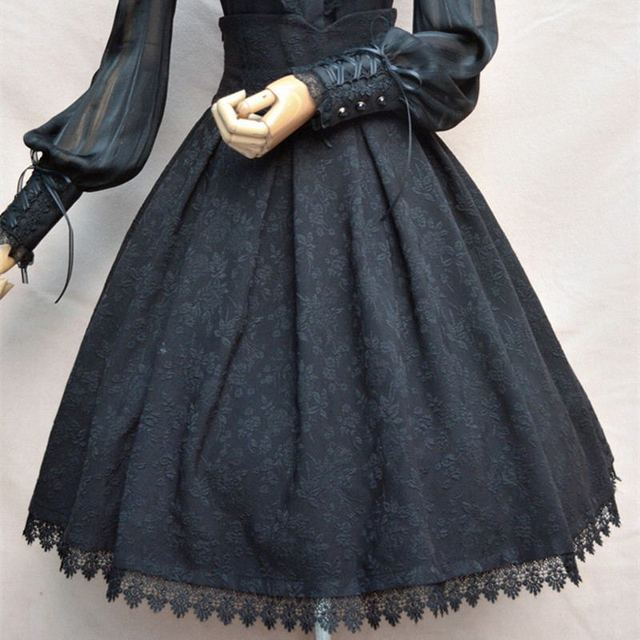 2018 Women Classic Lolita Skirt Vintage Style Retro Gothic Darkness Lace Up High Waist A Line Chapel Church Formal Skirts Black