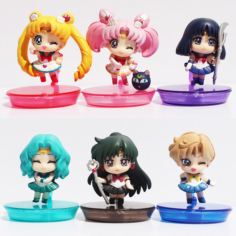 Q Vision Sailor Moon Figure Action Toys Tsukino Usagi Pvc Cute Mini Action Figure Children Toys 6pcs set sailor moon tsukino usagi chibi usa sailor mars mercury venus jupiter kimono pvc action figure model toys 5cm kt3731