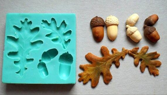 Silicone Moule Glands écrou et feuilles De Décoration De Gâteau de sugarcraft moule Fondant fimo moule d'argile moules