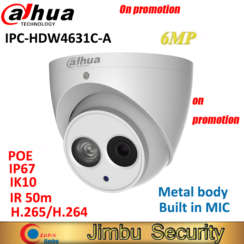 Dahua 6MP IP Camera IPC HDW4631C A H 265 full metal body Built in MIC IR50m