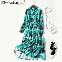 Ziwwshaoyucustom плюс Размеры Dress18 осень новое поступление отложной воротник длинный рукав с поясом с изображением котенка; Винтаж, высота до серед...