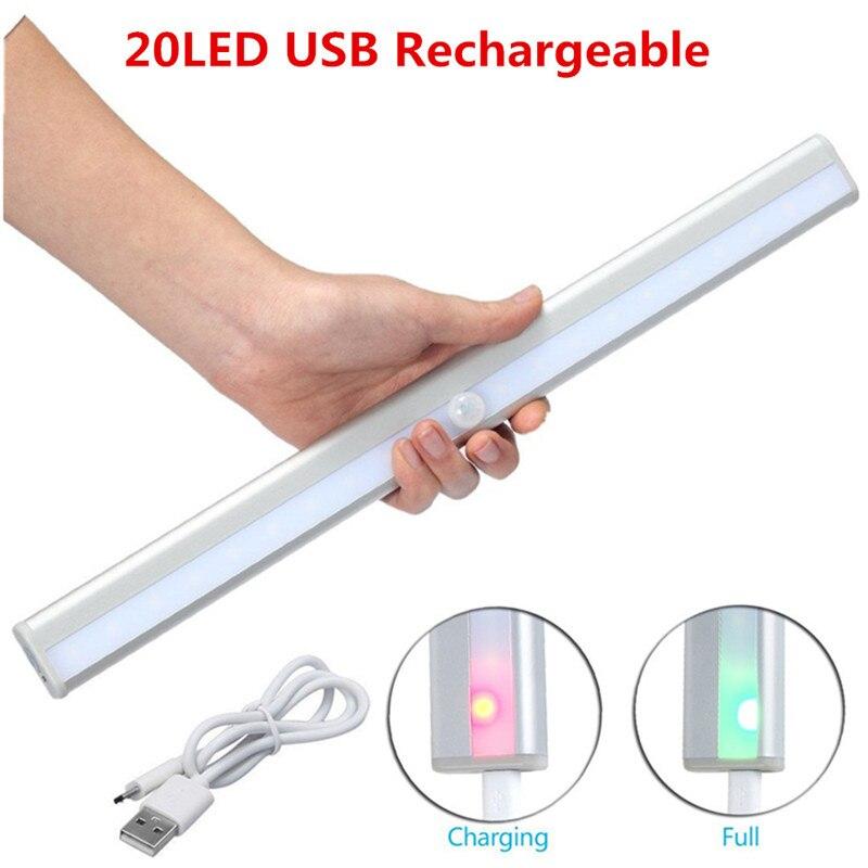 Беспроводной 20 светодиодный USB Перезаряжаемые пассивный инфракрасный датчик ночного освещения движения Сенсор свет под шкаф гардеробный ш...