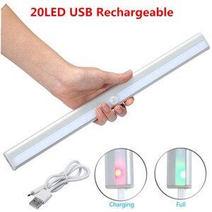 Image 1 - Беспроводной 20 светодиодный USB Перезаряжаемый Ночной светильник с ИК датчиком движения, светильник под шкафом, шкаф, кухонный датчик, светильник, лампа