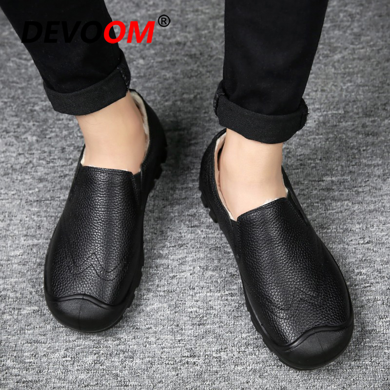 Sapatos 42 De Quente Homem Pele Artificial Plush Mocassins Genuíno 2018 Couro Preto Andando Moda Sapatilhas Inverno Homens rrAW1ZTn