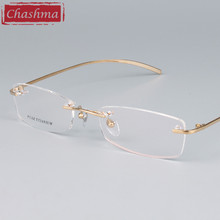 Chashma Brand Eyeglass Pure Titanium Light Rimless Designer Glasses Quality Frame Prescription Glasses Frames for Men and Women