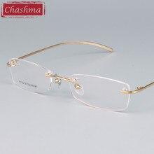 Chashma Marca Óculos De Designer De Óculos Sem Aro de Titânio Puro de Luz Qualidade óculos de Armação de Prescrição Óculos Frames para Homens e Mulheres