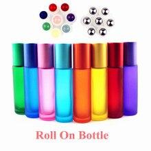 1 adet kalın üzerinde 10ml buzlu cam rulo şişe doğal taş rulo top uçucu yağ şişeleri boş doldurulabilir parfüm şişe