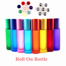 1PC Thick 10ml Frosted Glass Roll On Bottles Natural Gemstone Roller Ball Essential Oil Vials Empty Refillable Perfume Bottle