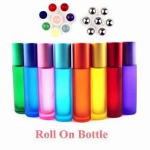 1PC épais 10ml verre dépoli rouleau sur bouteilles pierres précieuses naturelles rouleau boule flacons dhuile essentielle vide bouteille de parfum rechargeable
