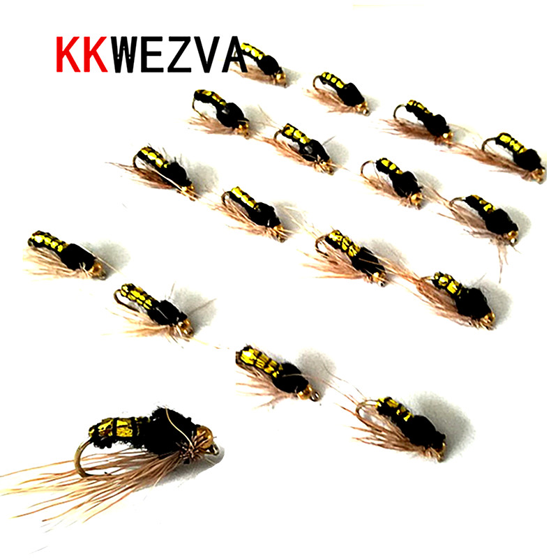 KKWEZVA 40pcs Gold Bee Fishing Lure Butter fly Insects Salmon Flies Trout Single Dry Fishing fly Lures Fishing Tackle salmon