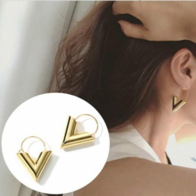 Vintage Initial V Shape Dangle Earrings For Women 2019 Fashion Statement Jewelry Earings Brinco Earing Pendientes Oorbellen