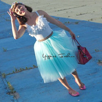 2015 New 7 Layers 65cm Long Sky Blue Tulle Skirt High Waisted Midi Skirts Womens Adult
