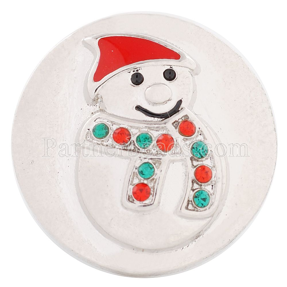 Christmas Snap Jewelry Snowman Santa Claus Rhinestone Ginger Snaps 20mm Snap Button Fit Charm Bracelet Jewelry KC8557