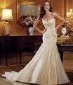 Скромная роскошь beadings атласа русалка свадебные платья 2017 мода великолепный белый кот свадебные платья vestido де noiva casamento