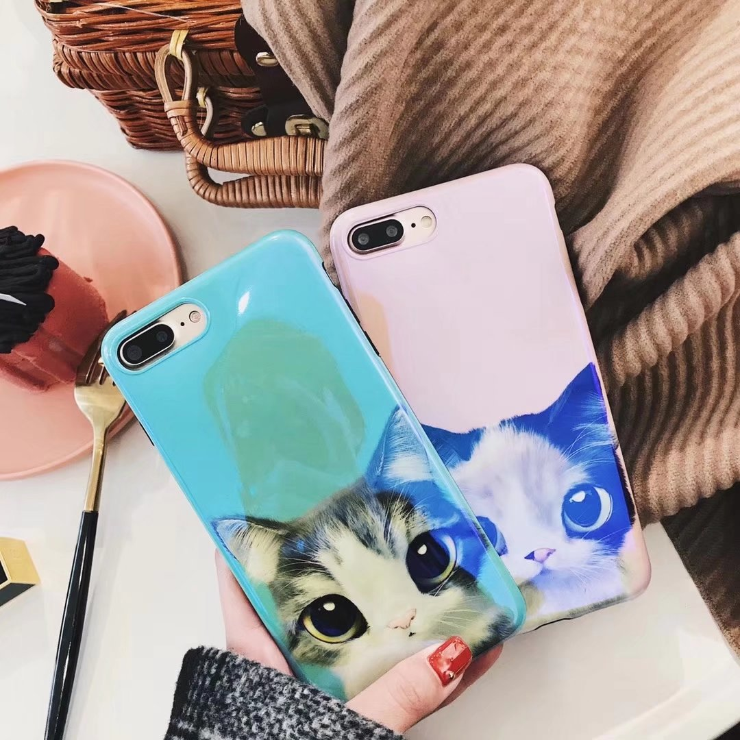 ProElite TPU Silicone Lovely Pet Cat Animal Mirror Soft Case for iPhone 7 7 Plus 8 8 Plus X 6 6S 6 Plus IMD Blue Light Girl Case