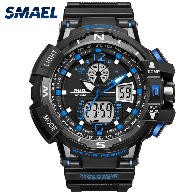 Man Sport Watch Waterproof Shock Resitant SMAEL Brand Luxury Men's Wrist Watch S Shock 1376 Digital Clock LED Mens Watches Gold 2016 brand o t s fashion outdoor sport waterproof led mens clock digital