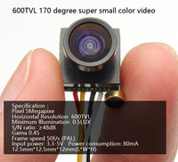 Free Shipping 600TVL 170 Degree Super Small Color Video Mini FPV Camera With Audio For Mini