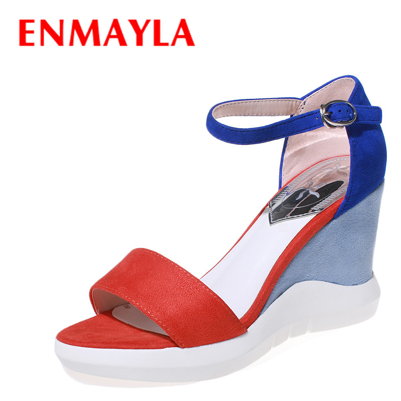 ENMAYLA New Summer Women Wedges Heels Platform Sandals Women High Heels Mixed Colors Shoes Woman Fashion Open Toe Suede Sandals  enmayla flowers wedges heels platform sandals women open toe high heels shoes woman solid color ladies sandals female shoes