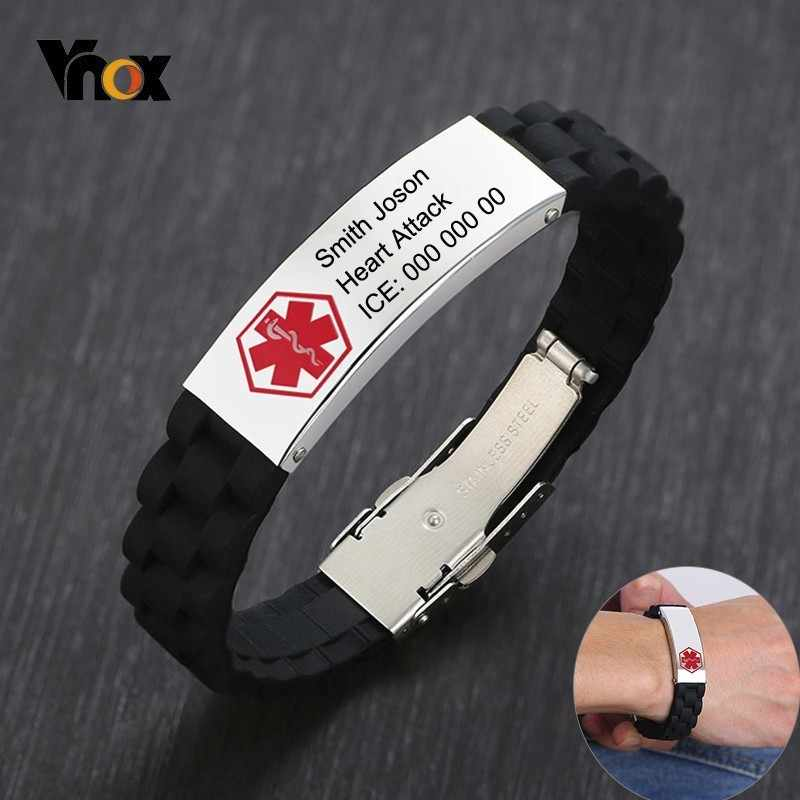Vnox Soft Comfort Wear Silicone Wristband for Men Personalize Medical Bracelet Stainless Steel ID Tag AUTISM Emergency Reminder