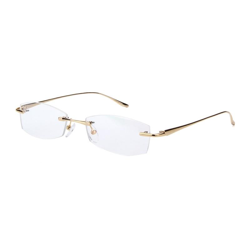 Rimless Gold Glasses Frames For Men Optical Prescription