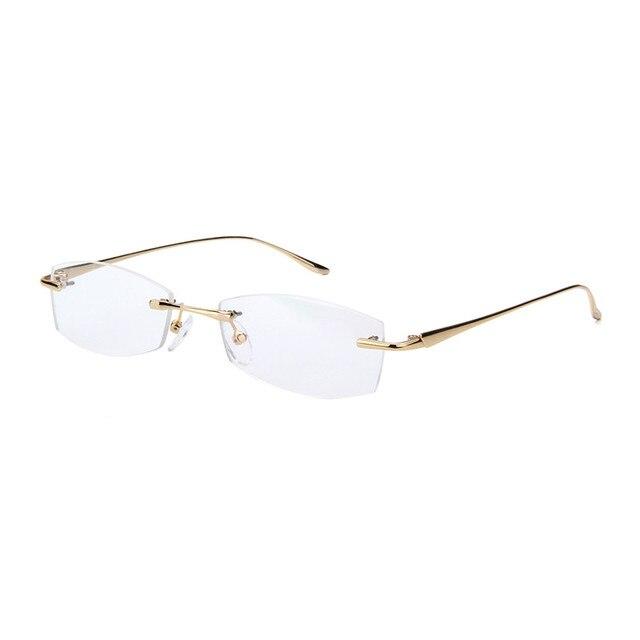 54cd86e298 Rimless Gold Glasses Frames For Men Optical Prescription Eyewear Clear Lens  Eyeglass Spectacles Eye Glasses Men s Eyewear Alloy