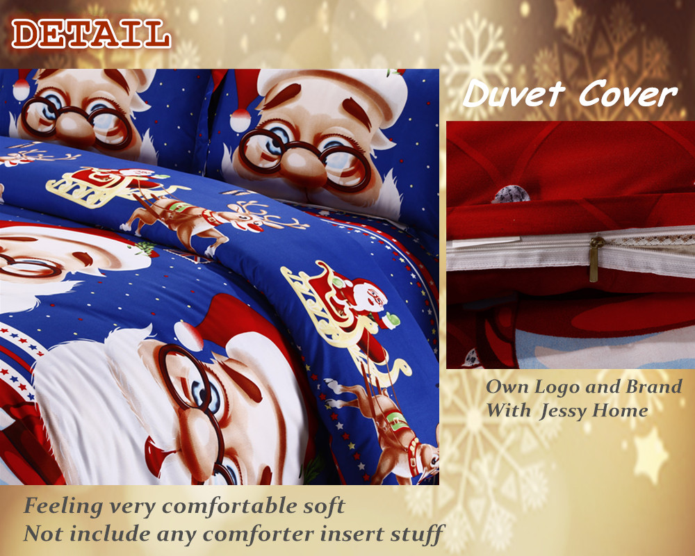 Great For Christmas, Set 4Pcs Christmas Santa Clause, 3D Bedding Set Duvet Cover Set,Sheet, Pillowcase, Sham Covers 40