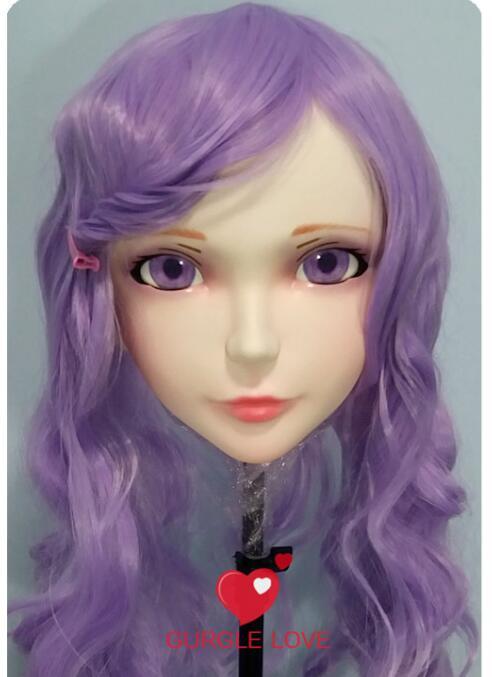 gurglelove Female Sweet Girl Resin Half Head Kigurumi Bjd Mask Cosplay Japanese Anime Role Lolita Mask Crossdress Doll Carefully Selected Materials kig008 Open-Minded