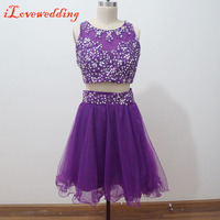 Custom Made Purple Short Homecoming Dresses Sleeveless Scoop Neck Tulle with Applique and Beading Two Pieces Graduation Dresses