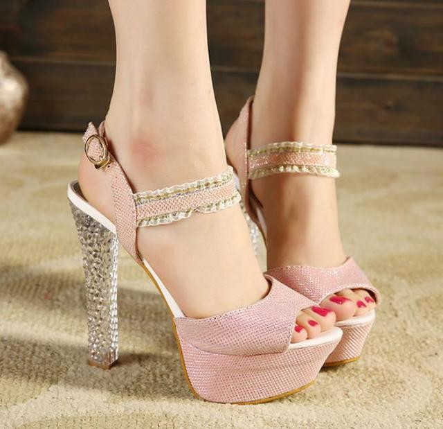 Glitter Light Pink Wedding Shoes Women Sandal Silver Crystal Heel Party  Shoes Summer Sandals Size 34