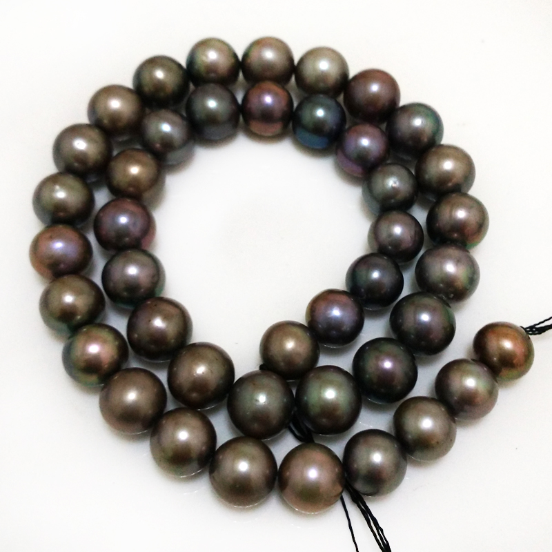 16 inches 10-11mm AA+ High Luster Dark Gray Natural Real Round Pearl Loose Strand for Necklace