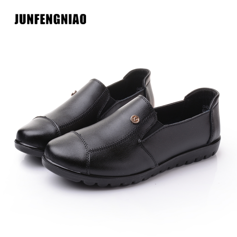 JUNFENGNIAO Women Shoes Female Oxford PU Leather Brand Casual Flats Mother Sapato Feminino Schuhe Zapatos Loafers Shoes DNF8011
