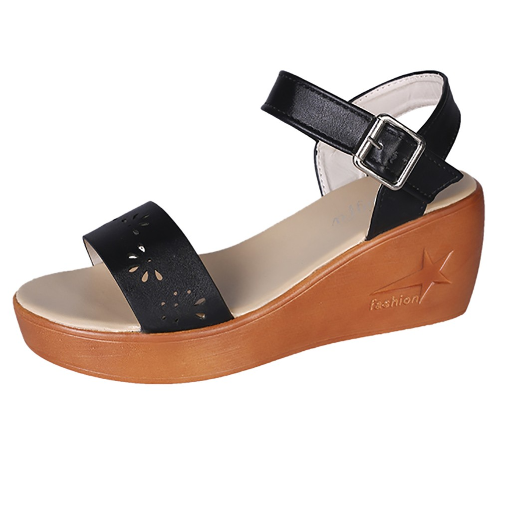 SAGACE Hollow Wedge Sandals Women Sexy High Quality Summer Ladies Shoes Thick-Soled Sponge Cake Buckle High-Heeled Roman ShoesSAGACE Hollow Wedge Sandals Women Sexy High Quality Summer Ladies Shoes Thick-Soled Sponge Cake Buckle High-Heeled Roman Shoes
