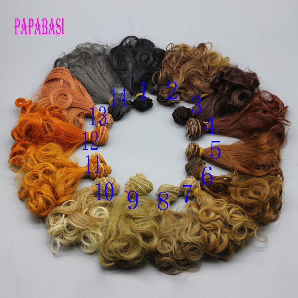 Livraison gratuite en gros extension de cheveux 15 * 100 cm brun café kaki Couleur naturelle bouclés perruques pour BJD poupée