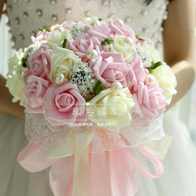 Beautiful Mint Green Wedding Bouquet All Handmade Bridal Flower Bouquets Artificial Pearls Rose