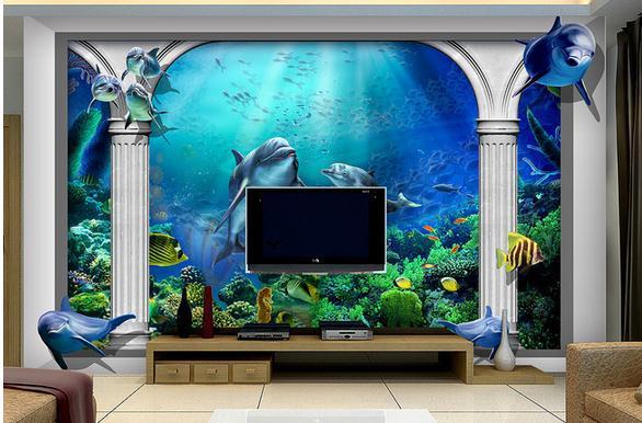 custom photo wallpaper 3d wall murals wallpaper Sea world Marine ...