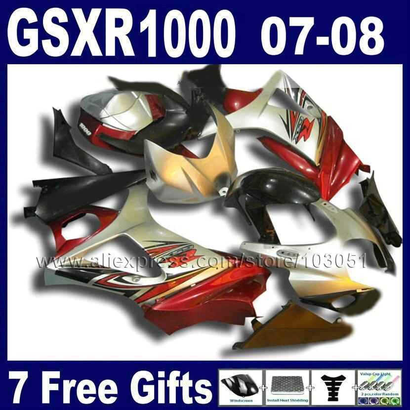 Высокое качество мотоциклов Обтекатели набор для Suzuki 2007 2008 GSXR1000 части GSXR 1000 GSXR K7 K8 07 08 1000 красное серебро обтекатель Ki