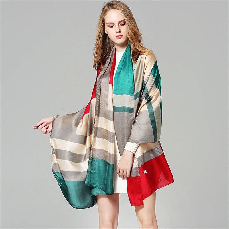 2018 luxury brand women silk scarf winter shawls and wraps print pashmina bandana soft and large size foulard hijab female