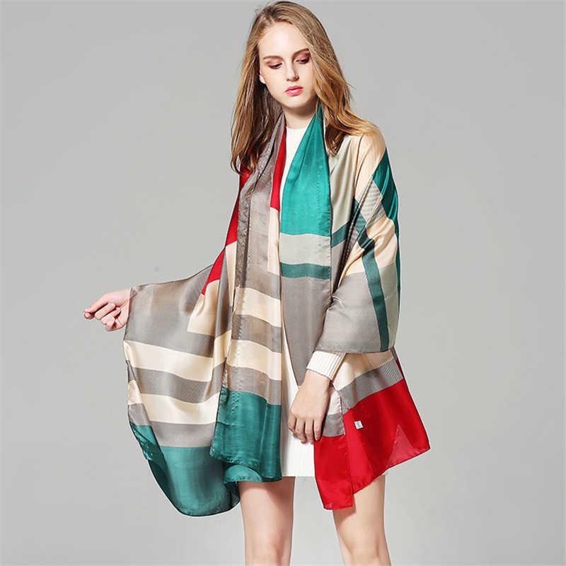 2019 luxe merk vrouwen zijden sjaal winter sjaals en wraps print pashmina bandana zachte en grote foulard hijab vrouwelijke