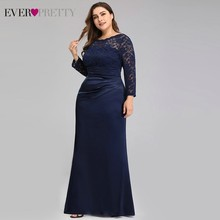 Evening-Dresses Party-Gowns Mermaid Ever Pretty Long-Sleeve Formal Plus-Size Robe-De-Soiree