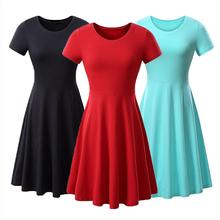Yfashion Summer Dress Woman Fashion Lady Solid Color  Short O Neck Ruffles Hemline Cotton Dresses Elegant Casual Dress Vestidos