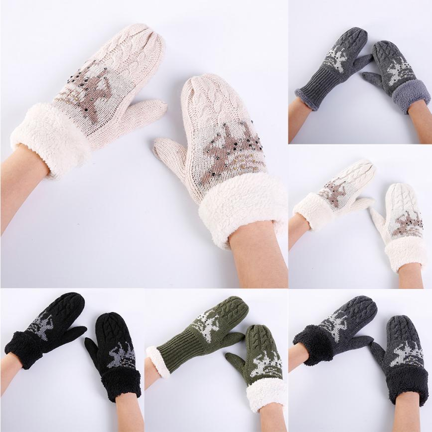 MUQGEW Newest Women Warmers Christmas Fawn Thicken Knitted Finger Thermal Skiing Gloves Mitten Popular Thermal Stay Warm Gloves