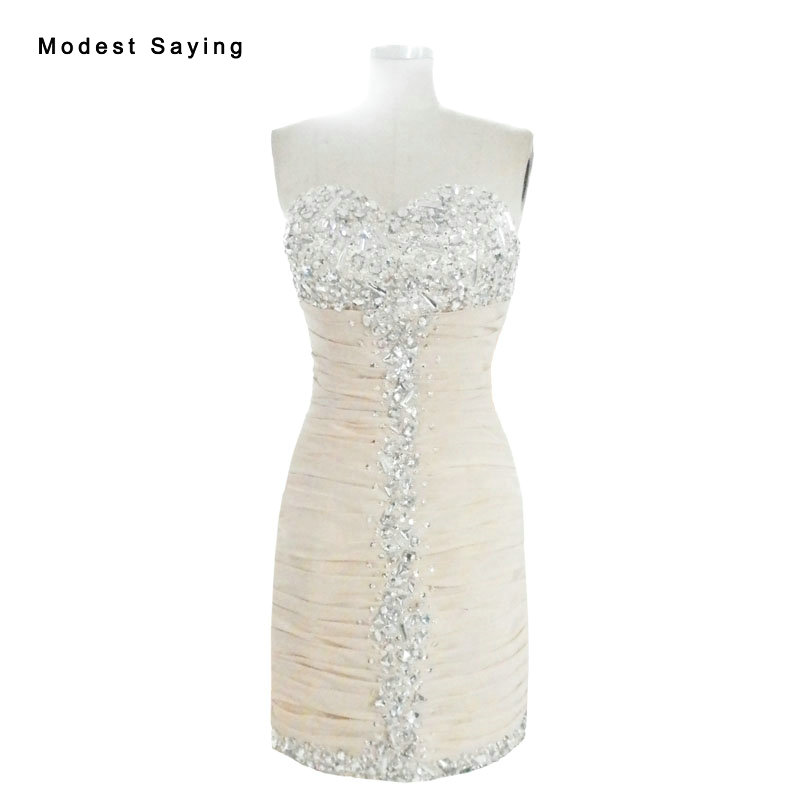 Sexy Straight Sweetheart Beaded Party   Cocktail     Dresses   2017 with Rhinestone Formal Mini Short Prom Gowns robe de   cocktail   YC43