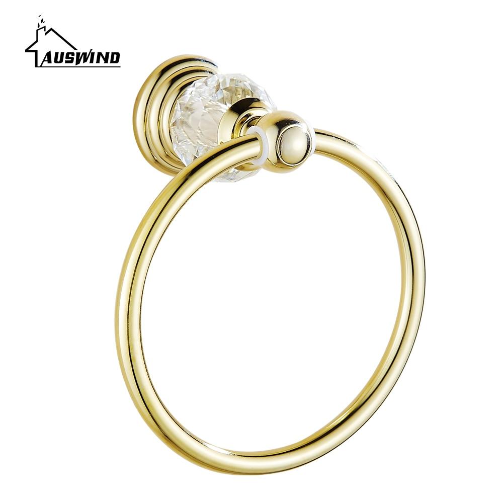 Crystal Brass Towel Ring Polished Towel Holder Luxury Gold Sight Towel Bar Bathroom Accessories Products luxury brass gold towel ring towel holder towel bar bathroom accessories free shipping
