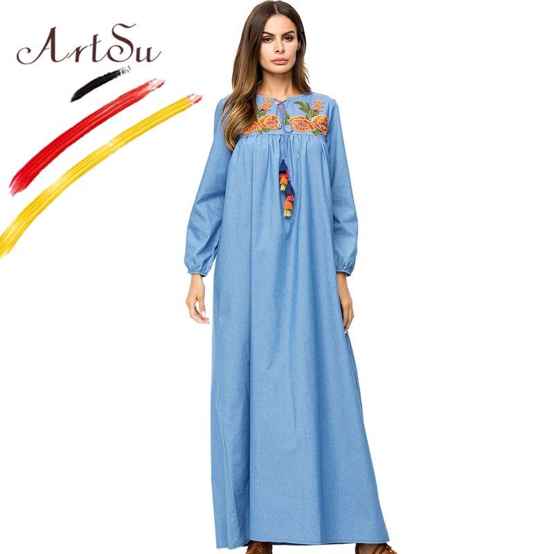 ArtSu Vintage Tie V-Neck Tassel Long Sleeve Denim Dress 2018 Spring Autumn Plus Size Women Floral Embroidery Maxi Dress Boho