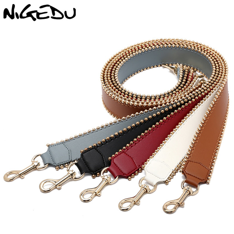 NIGEDU Brand Leather Bag Strap For Handbags Fashion Rivets Wide Shoulder Strap For Bag Handbag Accessories Belt Black Red White