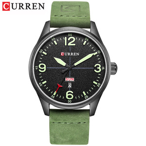 Image 3 - CURREN Brand Luxury Casual Military Quartz Watch Men Wristwatch Leather Strap Calendar erkek kol saati Relogio Masculino