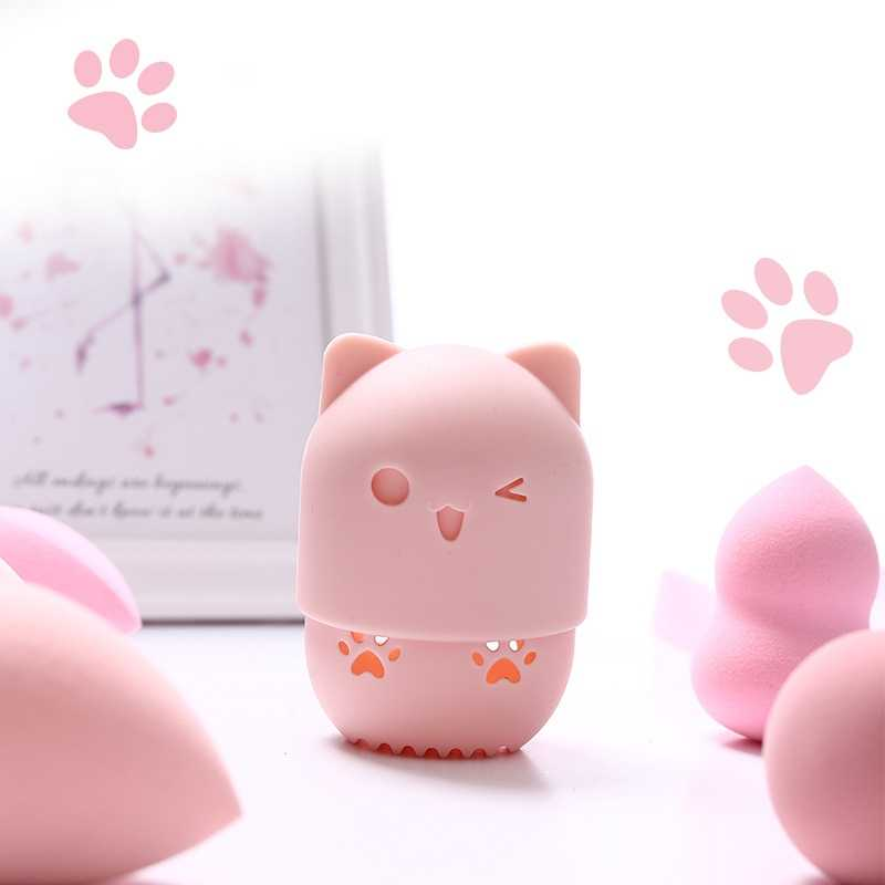 Sponge Makeup Egg Kitten Beauty Powder Puff Blender Holder Drying Case Portable Soft Silicone Cosmetic Blender Sponge Box Holder