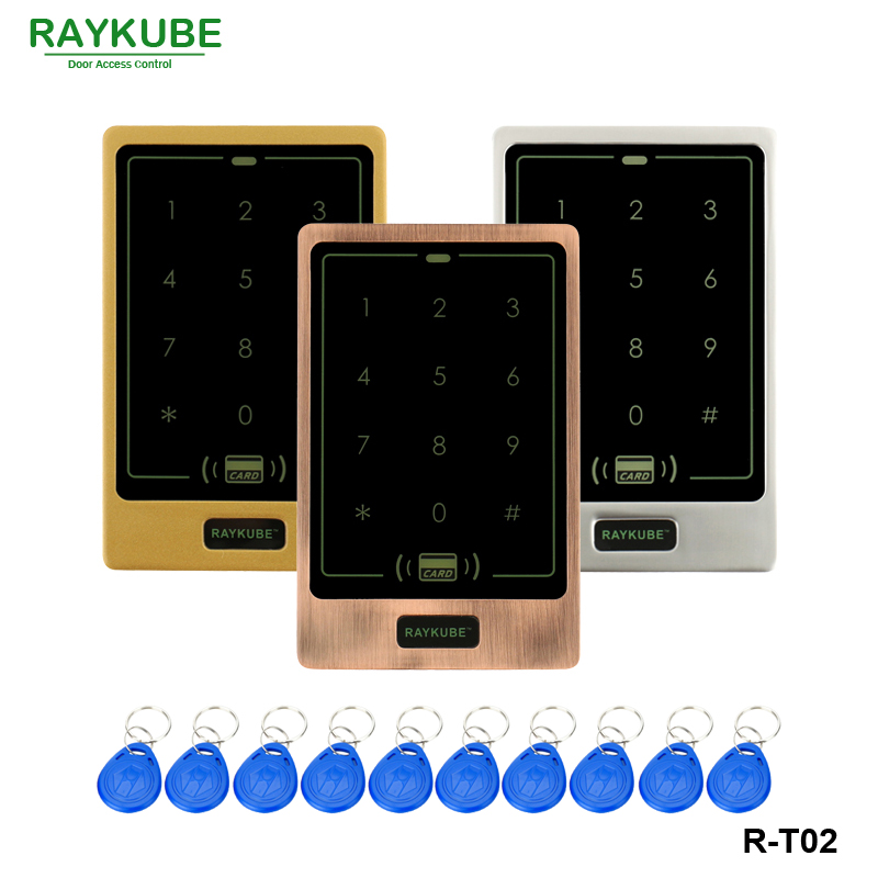 RAYKUBE RFID Access Control Keypad Metal Case Touch Digit Keypad For Access Control System + Waterproof Cover R-T02 free shipping waterproof metal rfid access control touch keypad with green backlight and wg26 34 for door access control system